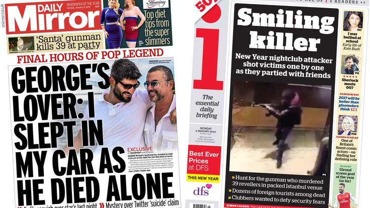 "Some newspapers lead on tweets apparently suggesting George Michael ""wanted to die"", while others focus on the hunt for the Istanbul terror attack gunman."