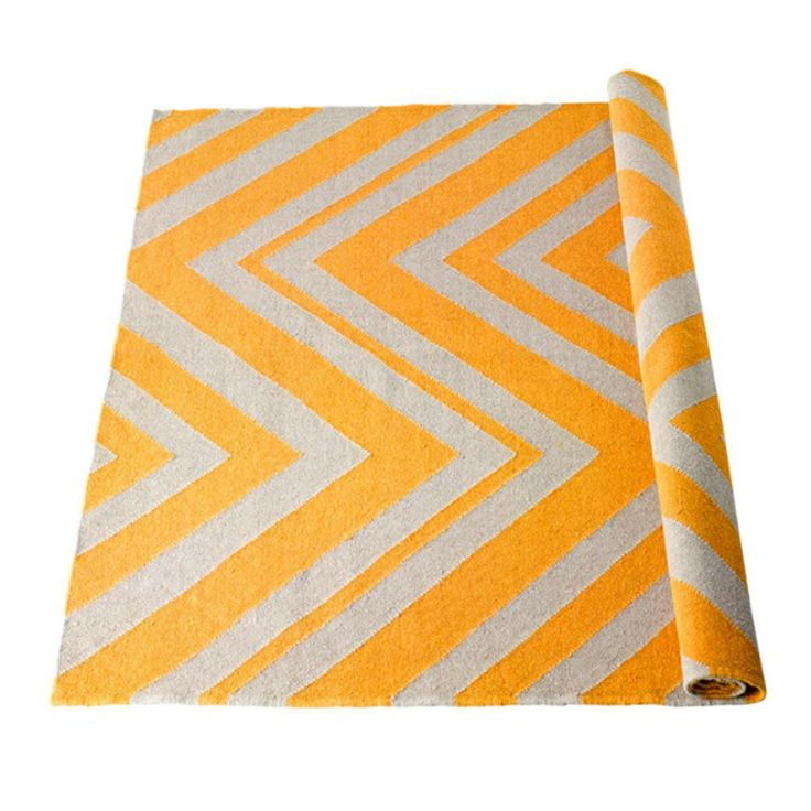 Wool Rug - yellow chevron