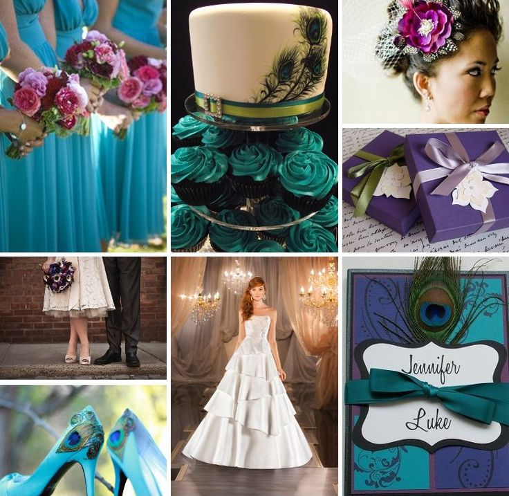 Purple, teal, and peacock feathers inspiration board