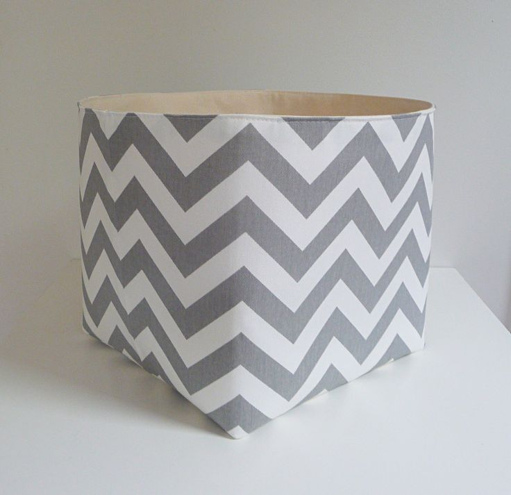 Extra Large Storage Basket Fabric Organizer in Grey and White Chevron Zig Zag with Canvas liner - Choose Your Size by littlehenstudio on Etsy https://www.etsy.com/listing/235024396/extra-large-storage-basket-fabric