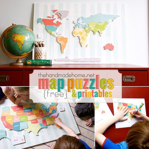 These are seriously the coolest printable maps I've seen. This is totally our next project! http://www.thehandmadehome.net/2015/08/map-puzzles/