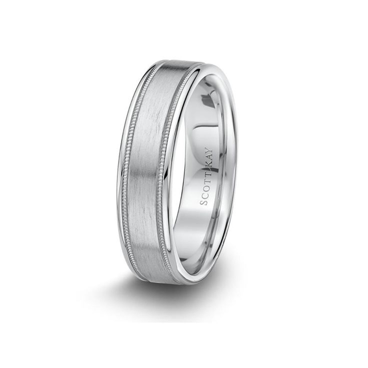 White Gold Mens Milgrain Brushed Center Wedding Band From The Classic Collection By Scott Kay