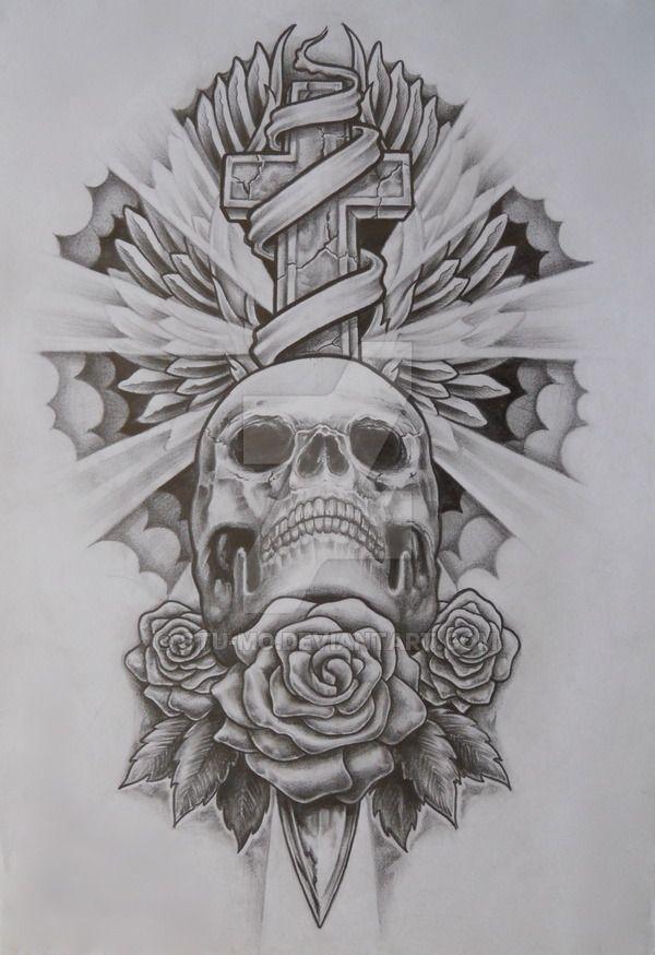 Skull and cross by Stu-mo