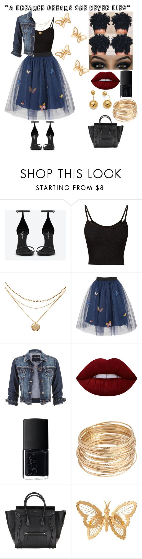 """"""" A Dreamer Dreams She Never Dies"""" by life-as-bri ❤ liked on Polyvore featuring Yves Saint Laurent, George J. Love, maurices, Lime Crime, NARS Cosmetics, Susan Caplan Vintage and Allurez"""