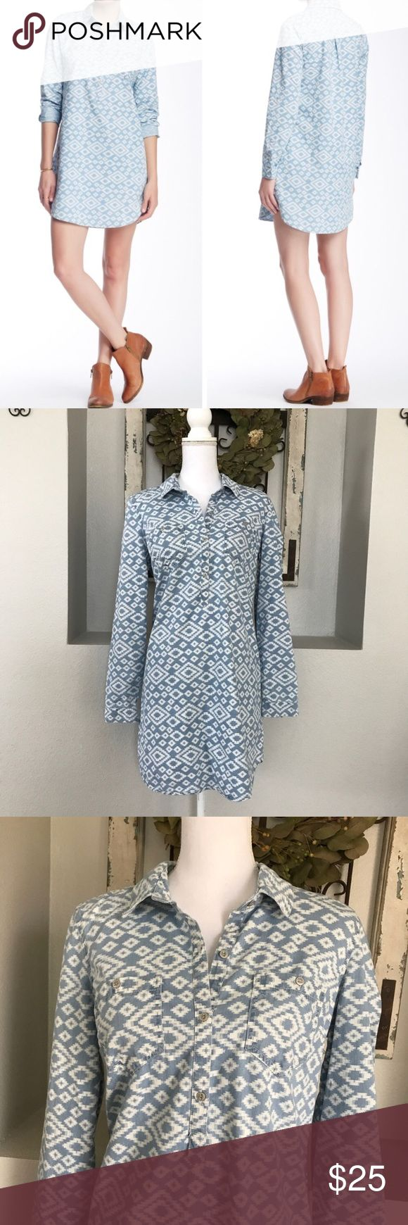 Lucky Brand Ikat Chambray Shirt Dress Lucky Brand Ikat Chambray Shirt Dress - Size medium. Excellent condition. Lucky Brand Dresses Midi