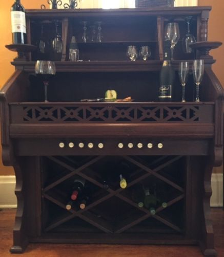 Antique-Victorian-Pump-Organ-Upcycled-Repurposed-Wine-Cabinet-Bar-Serving-Table