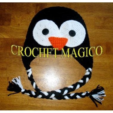 Gorro Tejido A Crochet Pinguino Happy Feet