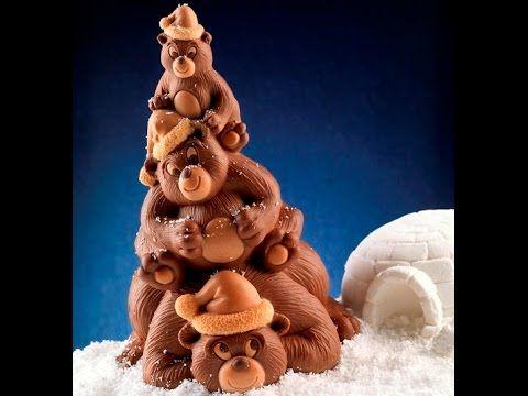 Video Tutorial Step by Step Bears Family chocolate Crhistmas Tree LINEAGUSCIO you can buy the silicone mold online on www.decosil.eu #christmas #natale #pino #pine #chocolate #cioccolato