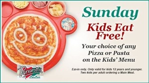 Great #deal at #Panarotti's – #Sundays – Kids eat Free! Your choice of any Pizza or Pasta on the Kid's Menu Eat in only Only valid for kids 12 years and younger Two kids per adult ordering a main meal Sundays only