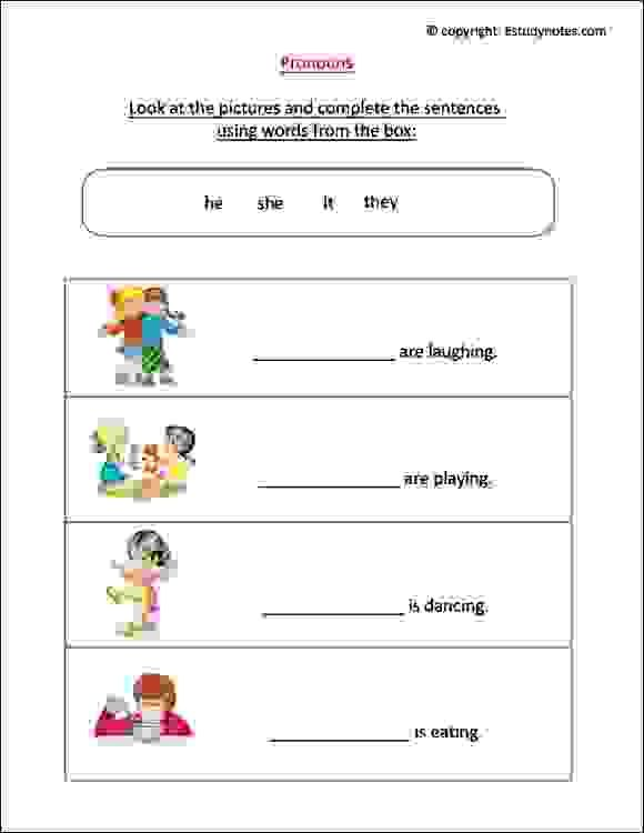 English Worksheet To Practice Pronouns Ideal For Grade 1 Kids