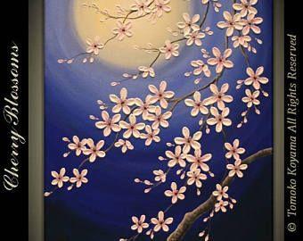 """4 de venta de julio Original moderno Impasto pintura en galería envuelto lona 24 """"x 36"""", decoración casera, arte de la pared---luz de luna---"""