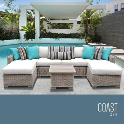 Tk Classics Coast 7 Piece Rattan Sectional Set With Cushions Cushion Color Fabric White