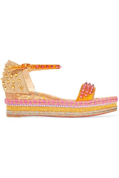 Christian Louboutin - Madmonica 60 Studded Metallic Textured-leather Espadrille Sandals - Gold - IT41