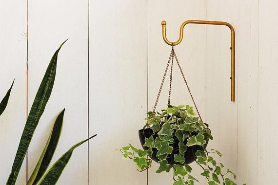 Planter Hanger Minimalist Plant Bracket Brass Wall Hook Boho