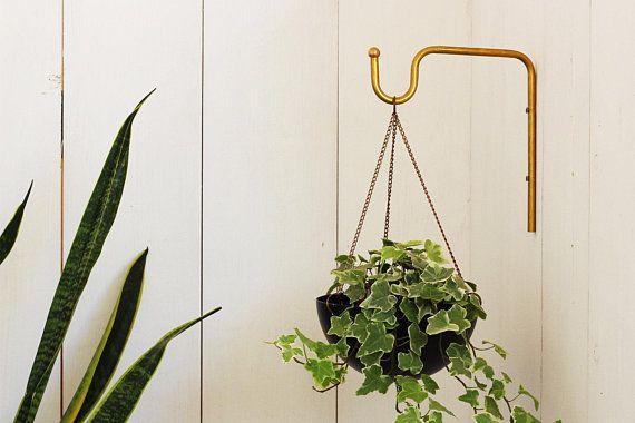 Planter Hanger Minimalist Plant Bracket Brass Wall Hook Etsy Hanging Plant Hooks Plant Bracket Hanging Plants
