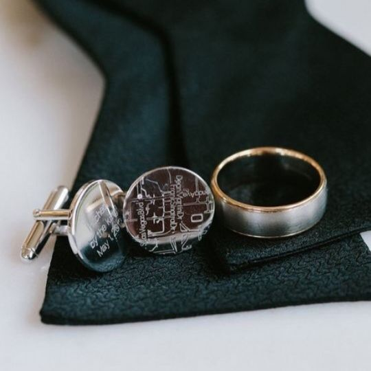 Sterling Silver Cuff Link with a Diamond