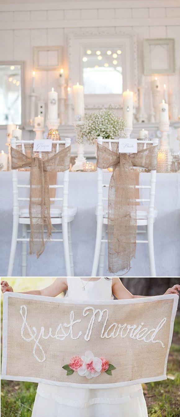 Decora tu boda con yute: Transmite calidez y combina de maravilla con el resto de colores. Es perfecto para decorar bodas rusticas, románticas y shabby chic