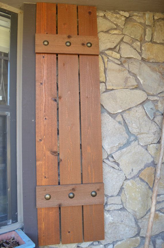 Stained cedar shutters exterior shutters board and by - Exterior wooden shutters for windows ...