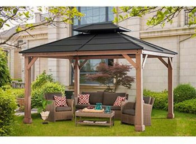 Steel Double Roof Pagoda Gazebo Pergola With Mosquito Netting Curtains 10 X 12 Berkly Backyard Gazebo Hardtop Gazebo Gazebo