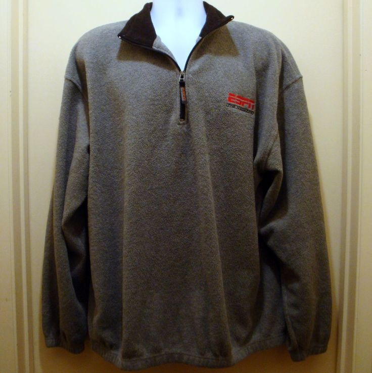 ESPN The Magazine Mens Gray Fleece Zippered Sweatshirt Size XLarge Embroidered #ESPN #SweatshirtCrew