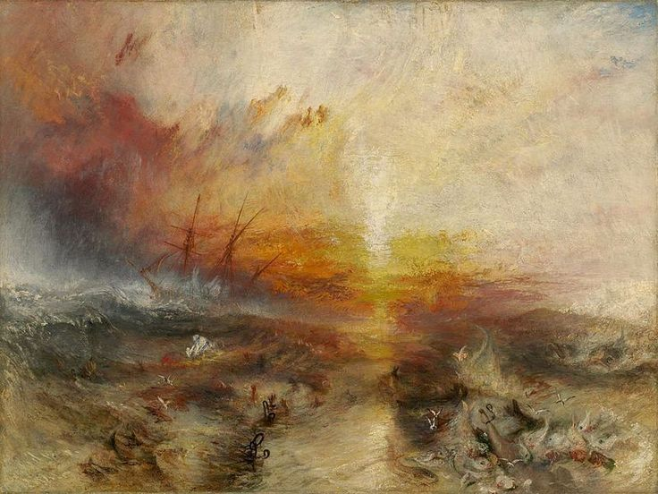 La nave negriera, William Turner, 1840. Olio su tela, 91×138 cm. Museum of Fine Arts, Boston