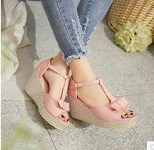 Fashon delle donne di estate arco impermeabile pendenza Mary Jane Scarpe fibbia sandali Degli Alti Talloni Dei Cunei Rosa Viola Blu Nuovo(China (Mainland))