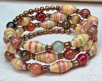 Paper bead jewelry w/ colorful gemstones ~ yellow red green ~ memory wire bracelet ~ boho gypsy style bracelet