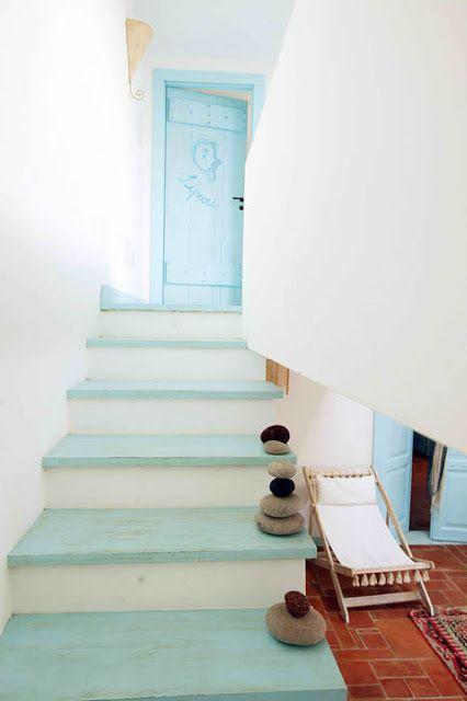 Beach house painted wood steps #nautical