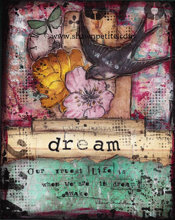 Mixed media tutorial... www.shawnpetite.com......lots of good mixed media tutorials on this web site