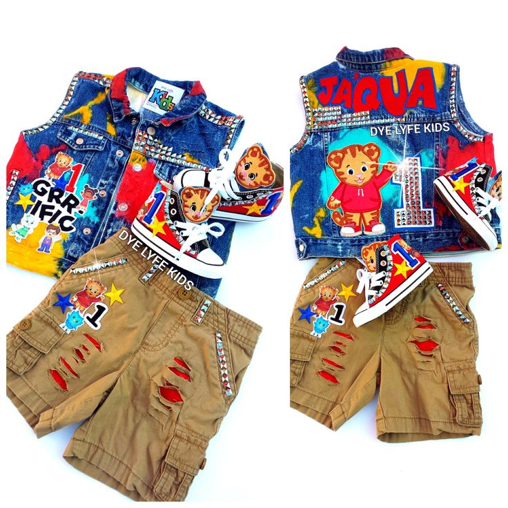 DANIEL TIGER custom jacket, vest, shorts, shoes, converse, 1st birthday, boys outfit, distressed, hand painted, birthday by DYELYFEkids on Etsy https://www.etsy.com/listing/468602801/daniel-tiger-custom-jacket-vest-shorts