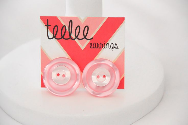 Pink & Mini White Button Earrings - Teelee - A Bits & Bobs Brand