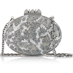 Christian Louboutin Mina crystal-embellished suede clutch