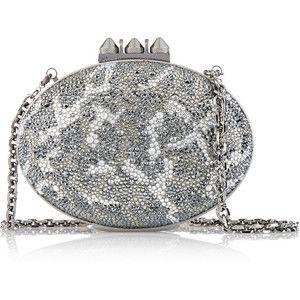 Christian Louboutin Mina crystal-embellished suede clutch