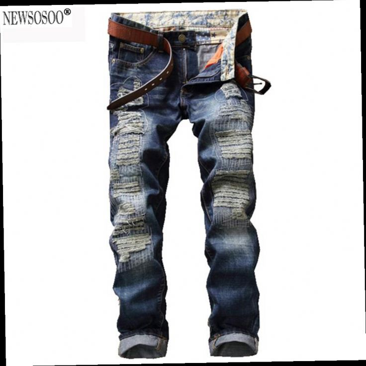 47.81$  Buy now - http://alibau.worldwells.pw/go.php?t=32787551725 - Newsosoo brand fashion patch holes ripper jeans for man Casual slim straight denim pants Mens jeans hommes MJ82 47.81$