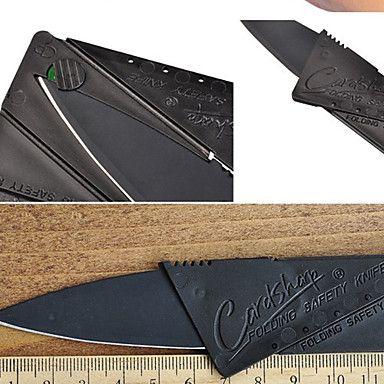 1db fekete rozsdamentes acélból készült mini összecsukható hitelkártya jellegű biztonsági újdonság kés kültéri eszközök 2015 – $2.09