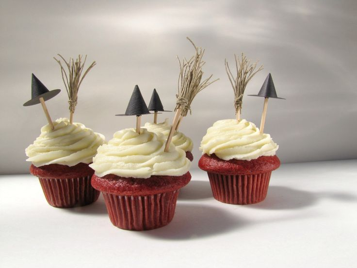 Little hats and twiggy brooms are an easy way to make any treat Halloweeny.
