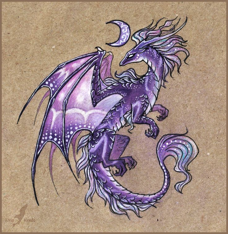 Drache eines violetten Mondes von AlviaAlcedo