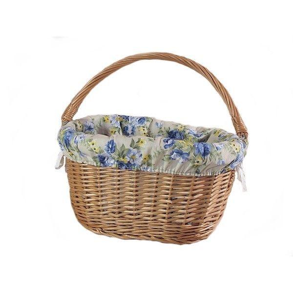 """Wiklinowy kosz na rower """"prosty"""" obszyty materiałem - wzór niebieska róża"""