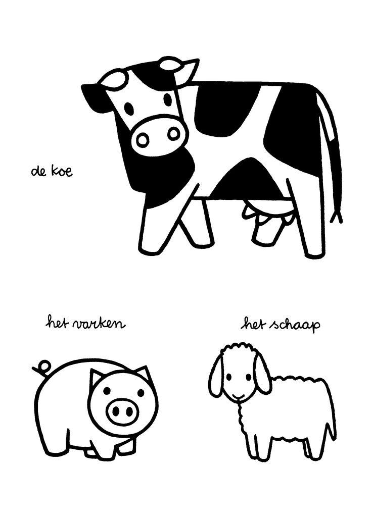 Kleurplaten Paradijs - Kleurplaat De koe. Het varken. De schaap