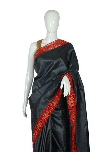 Black Tussar Silk Saree with Red Cut Work – Desically Ethnic