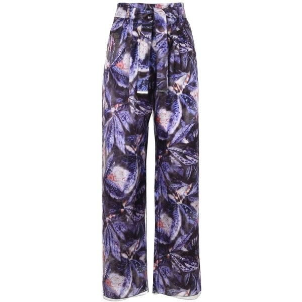 Giorgio Armani Casual Trouser (11.681.365 IDR) ❤ liked on Polyvore featuring pants, purple, floral pants, high-waist trousers, high waisted wide leg trousers, high waisted pants and zip pants