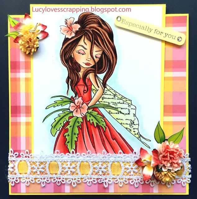 Lucy loves scrapping: Checkered Spring coloured fairy handmade girly card (Lacy Sunshine image)