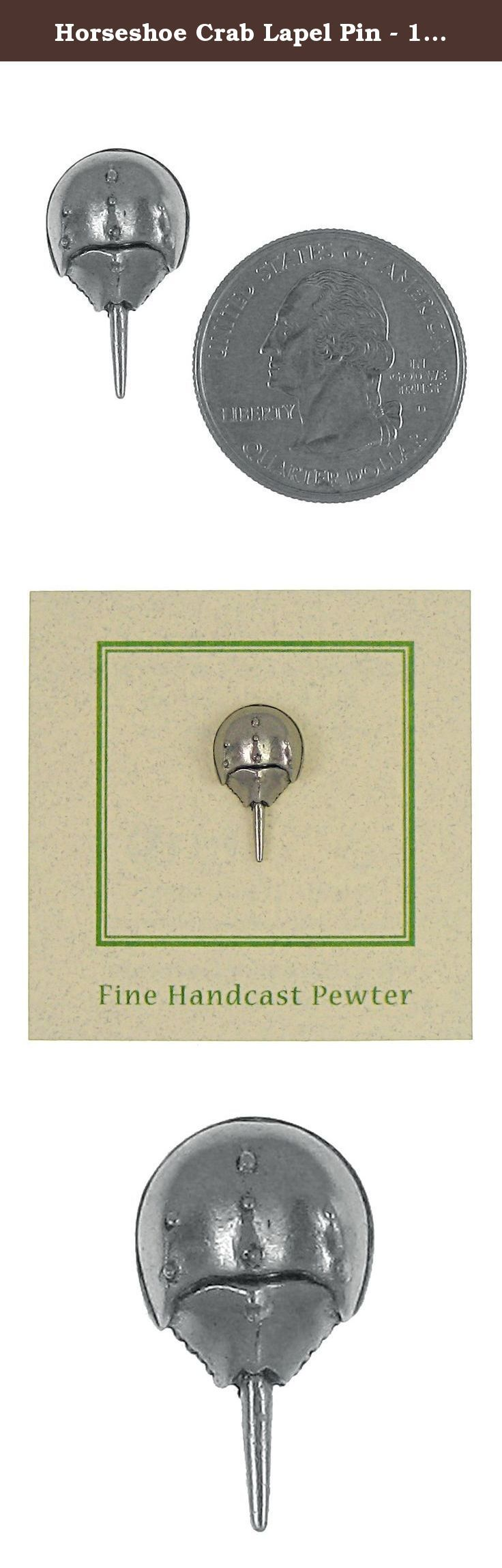Horseshoe Crab Lapel Pin - 100 Count. Native to the Atlantic coast, from Canada to the Gulf of Mexico, the horseshoe crab is more closely related to the spider than to other crabs. Our horseshoe crab lapel pin is handcast in solid, lead-free pewter. Each of our pins is an original three dimensional sculpture signed by the artist, Jim Clift. It's engraved and raised details make this a lifelike rendition of the real thing! Handcrafted in our studio in Coventry, RI, our pins are 100% US made.