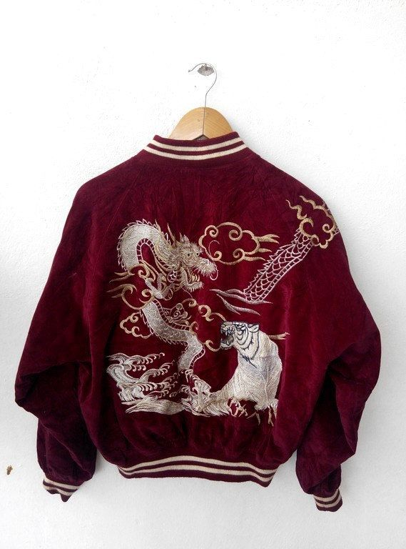 Vintage Dragon Bomber Jacket   #1980s #vintage #embroidered #dragon #japanese #bomber #jacket #velvet #tobuy #etsy