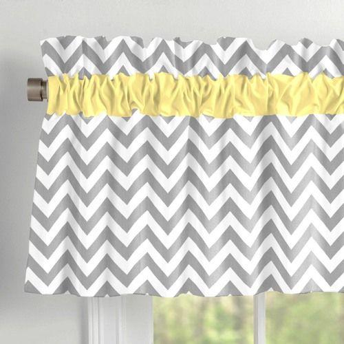 Gray and Yellow Zig Zag Window Valance Rod Pocket | Carousel Designs