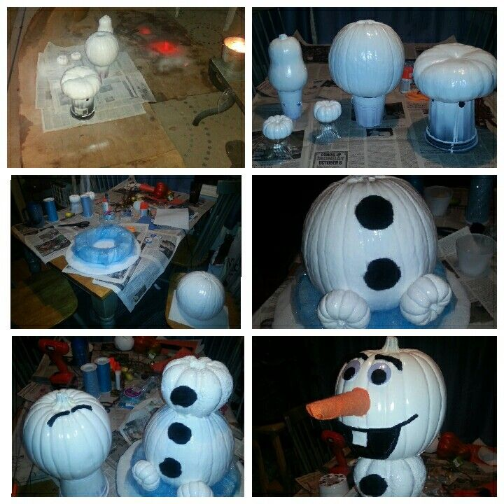 Our project painting pumpkin Olaf process! (We didn't end up using the real pumpkin in the middle and the butternut squash for the head, it was too heavy to transport, so we used two fake pumpkins for the middle and head) #pumpkinpaintingcontest2014 #PumpkinOlaf #FlossingOlaf #Olaf #Pumpkins #forthekids