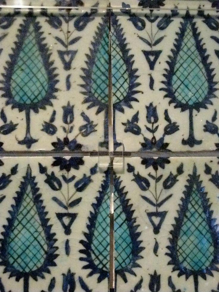 Ottoman Iznik Tile Panel - Museum Exhibit, Istanbul, Turkey