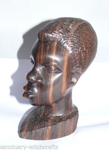 Superb Vintage Ebony Wood Hand Carved African Tribal Head
