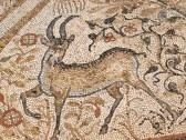 A Byzantine mosaic depicting a deer on the floor of the Great Basilica in the ancient city of Heraclea Lyncestis near Bitola, Macedonia stock photography