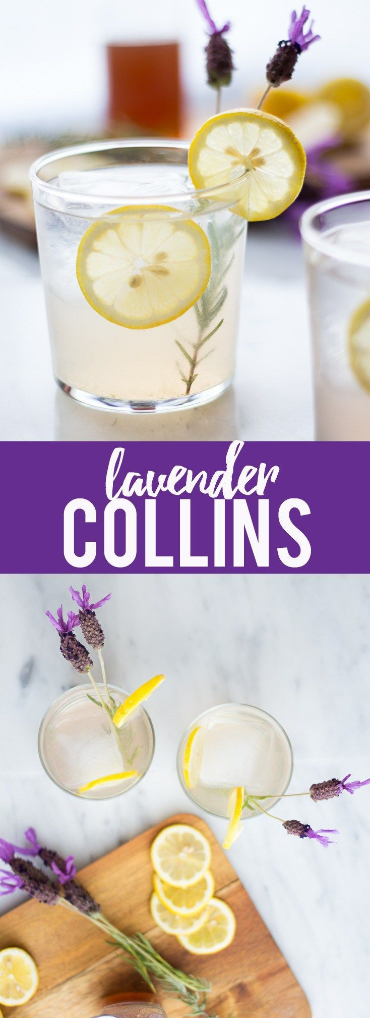 This refreshing Lavender Collins is a fresh twist on a Tom Collins cocktail, with homemade lavender syrup, gin, lemon juice and a splash of sparkling water.